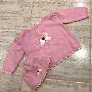 Gymboree girls sweater and hat pink carousel horse